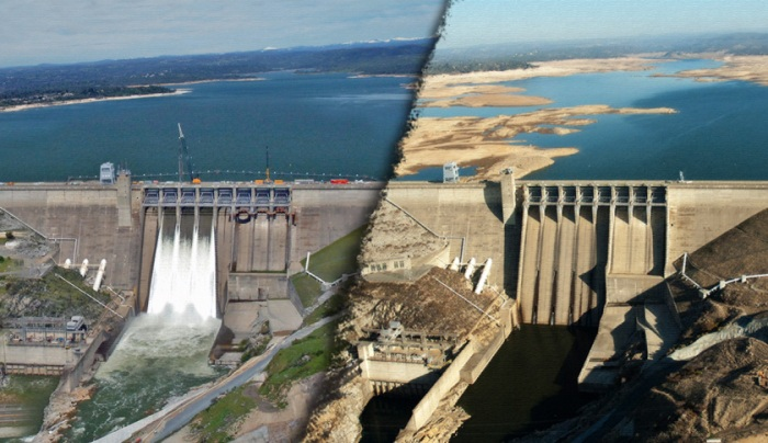 At left, Folsom Lake in March 2011. At right, Folsom Lake in January 2014. | State of California