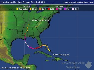 (Hurricane Katrina storm track 2005 | Credit: Lawrenceville Weather)