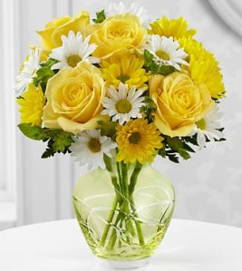 Yellow Roses, Clear Bowl