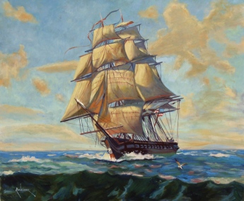 Russ Webster. Oil on Canvas. USS Constitution